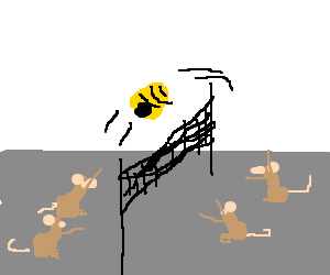 Mice play volleyball with a bee hive