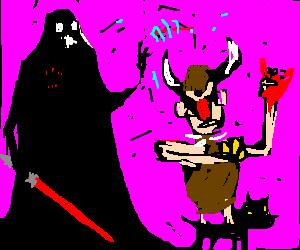Darth Vader pulls a Mola Ram on a cat