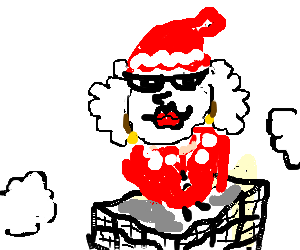 Santa Claus' wife on top of a building