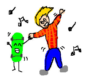 yellow hair guy dances with green skateboard