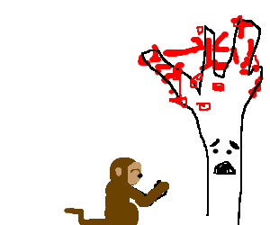 Monkey prays to tree with sad face