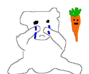 Polar bear weeps while a carrot watches