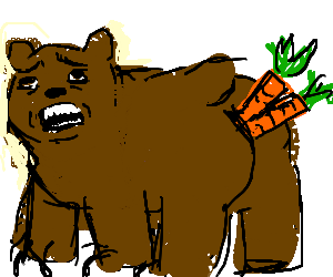 Bear with carrots stuck in arse