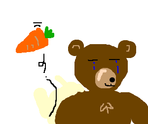 Sad bear throws a carrot behind him & walks away