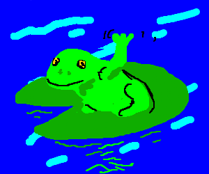 A frog waves on a lilypad