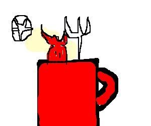 Red coffee mug with devil hiding inside
