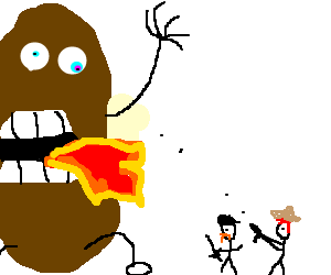 Mythbuster guys fighting for giant baked potato