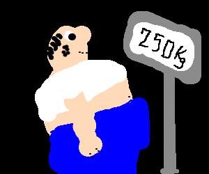 Fat man has hygine problems.