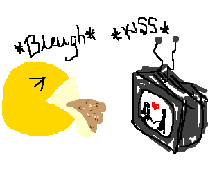 Sappy love scene makes Pacman sick