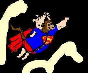 Monkey disguised as pig in superman suit