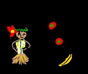 trow food at hula girl for her tyni black child
