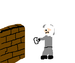 Sad eskimo taking friends mail to a brick wall