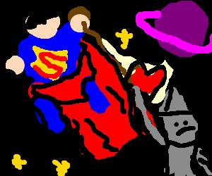 Super man takes the tin man to space