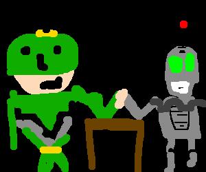 captain qwark arm wrestles clank