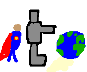 superhero unites with robot for world takeover