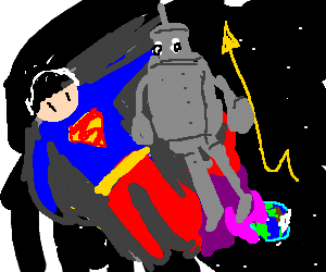 Superman and a robot become bigger than earth