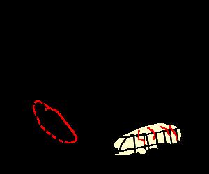 Red centipede attack man to save white centipede