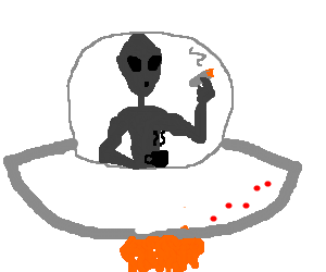 A grey alien smoking and drinking coffee