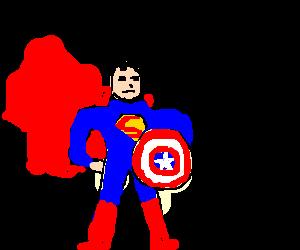 Superman wielding Captain Americas shield