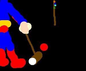 Superman plays croquet