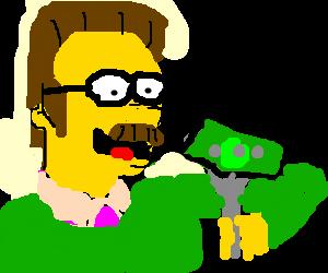 Ned Flanders eating money