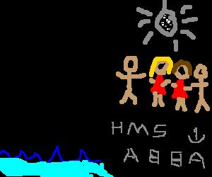 Abba on a ship