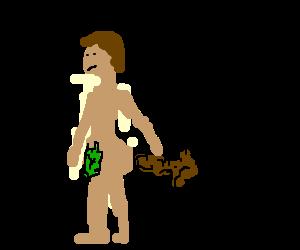 Naked man points poop on stick at midget house