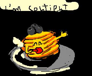 sentient pancake puts on lipstick