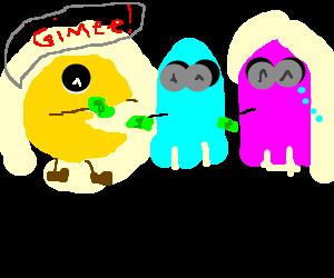 Pacman steals ghost's money.