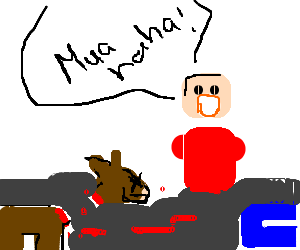 Dismembered red Lego man bites off horse's head