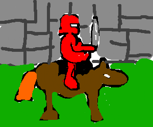 A red knight is on a horse