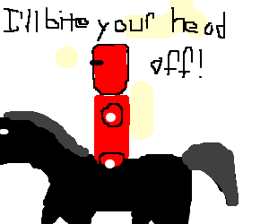 black knight (drawn in red) rides horse leftward