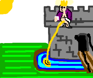 man living in castle urinates into the moat.