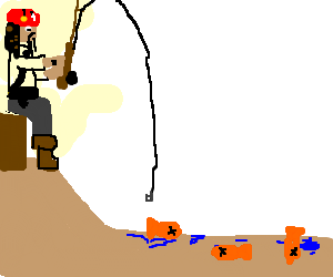 pirate goldfishing in an ocean with no water