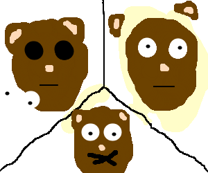 The: can't see,can't hear,can't speak,3 monkeys.