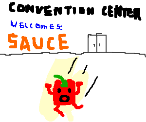 Red pepper running from a sauce convention