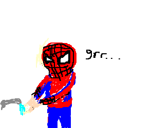 spiderman angry at having to use handwash