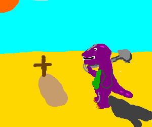 Barney buries a dead body in the desert