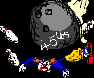 45 lbs bowling ball kills clown