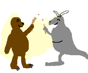 Bear and gray kangaroo toast marshmallows