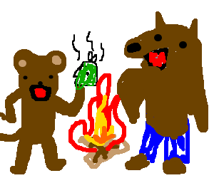 monkey w.fishhead and werewolf dancinground fire