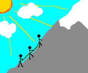 Stickmen climbing a mountain to bask in the sun.