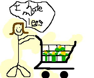 Woman with very fat legs pushing a cart of corn.