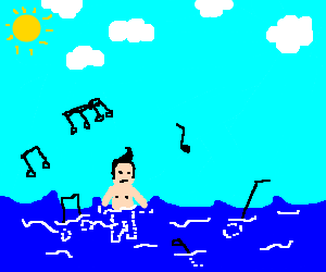 Vinnie swimming with the musical notes