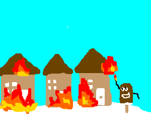Walking choc ice sets fire to buildings by beach