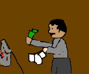 mustached man buying underwear