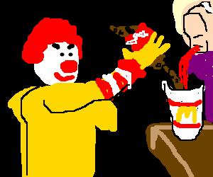 ronald mcdonald having a bloody soda