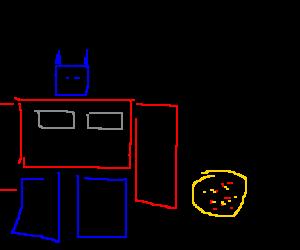 Optimus prime delivers pizza