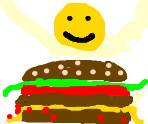 Smiley face is happy about overladen hamburger