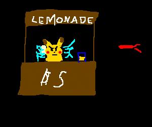 Angered Pikachu can't sell lemonade to ninja